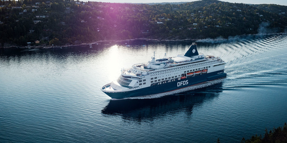 DFDS ship on the water in summer