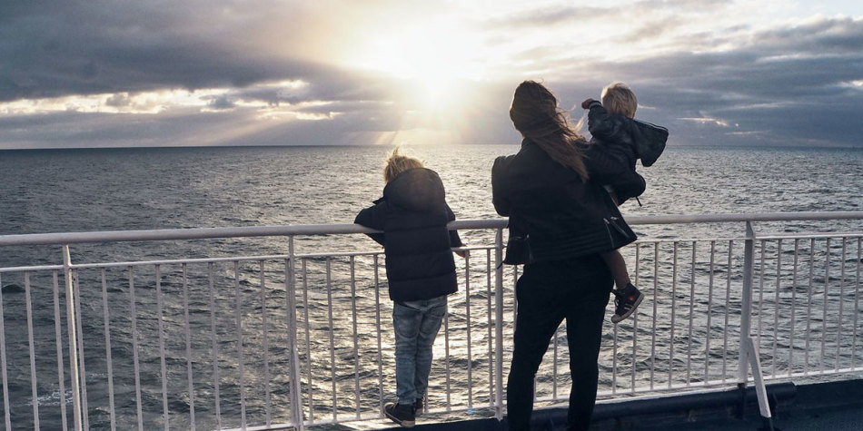 Family on deck of Newcastle-Amsterdam ferry
