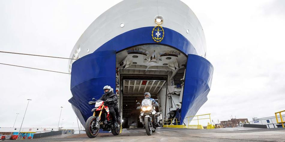 Passengers travelling with their motorcycles onboard DFDS ferry