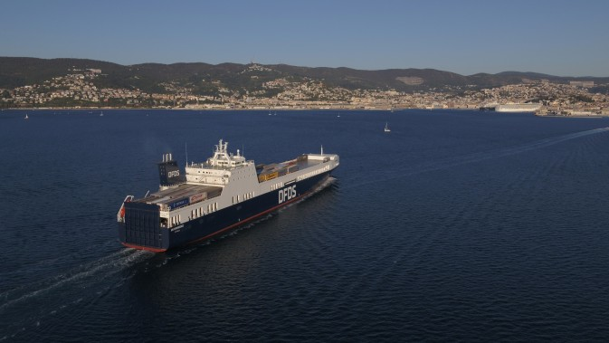 DFDS Freight vessel UN Karadeniz nearing the port of Trieste