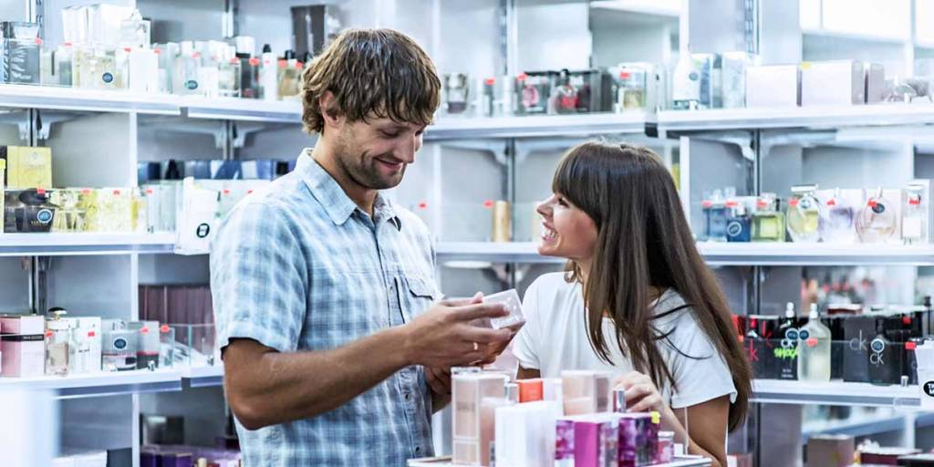 Couple in shop onboard DFDS ferry