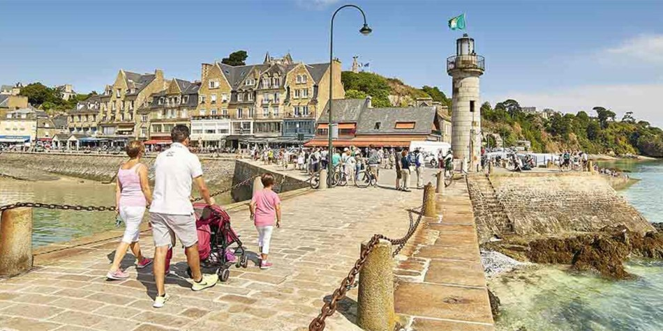 Family in coastal town in Brittany