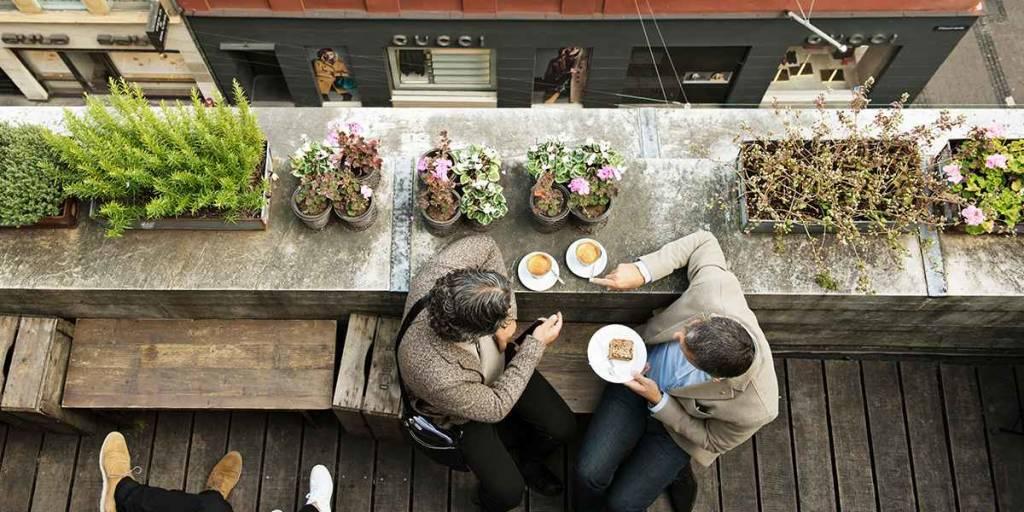 Rooftop cafe in Copenhagen, Image credit: Robin Skjoldborg