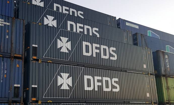 DFDS containers blue