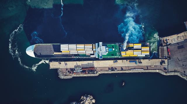 DFDS Ro-ro vessel docking - view from above