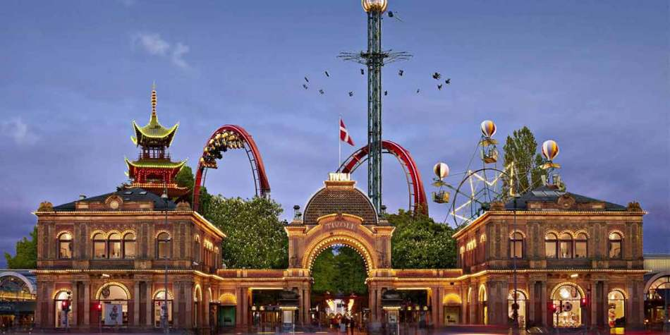 Entrance and rides at Tivoli Park, Denmark