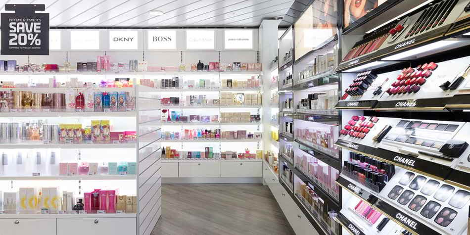 Makeup, perfume and other products in the tax free store onboard Copenhagen-Oslo
