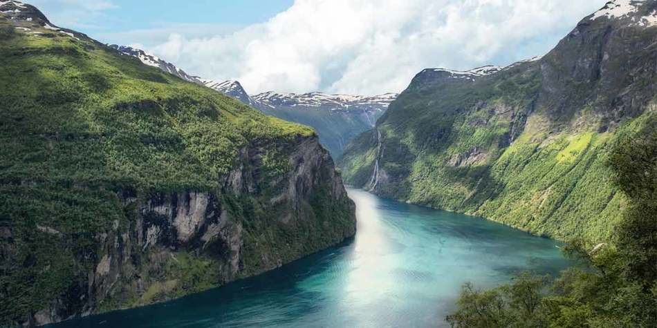 Picturesque view over the mountains in Norway