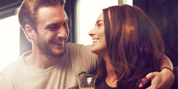 Couple in the bar onboard DFDS ferry