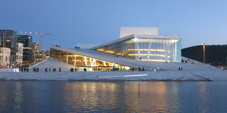 Opera house in Oslo Norway evening