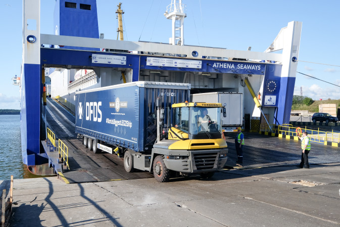 DFDS Lego ship Jubilee Seaways being unloaded from DFDS vessel Athena Seaways