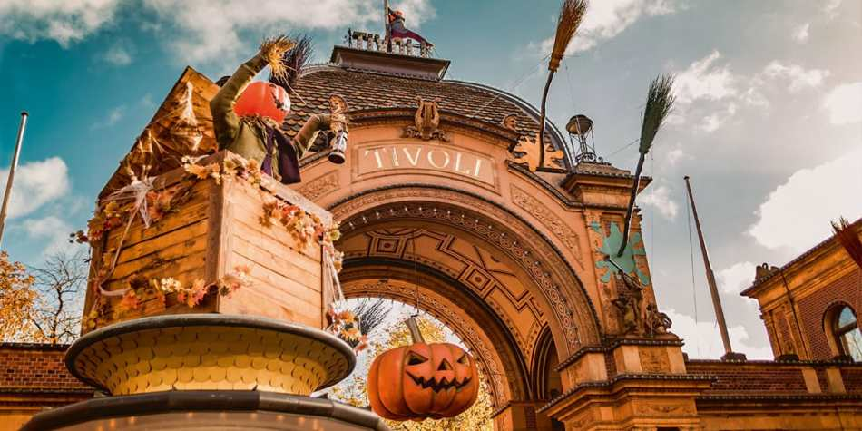 Tivoli entrance at Halloween, Copenhagen