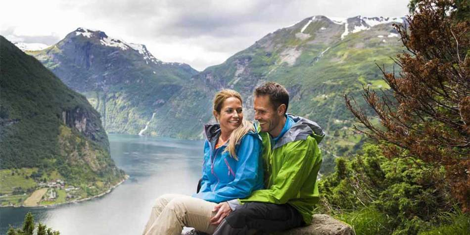 Couple enjoying the view over the Fjord