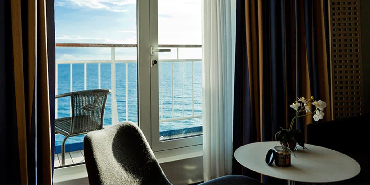 Cabin with balcony onboard Copenhagen-Oslo