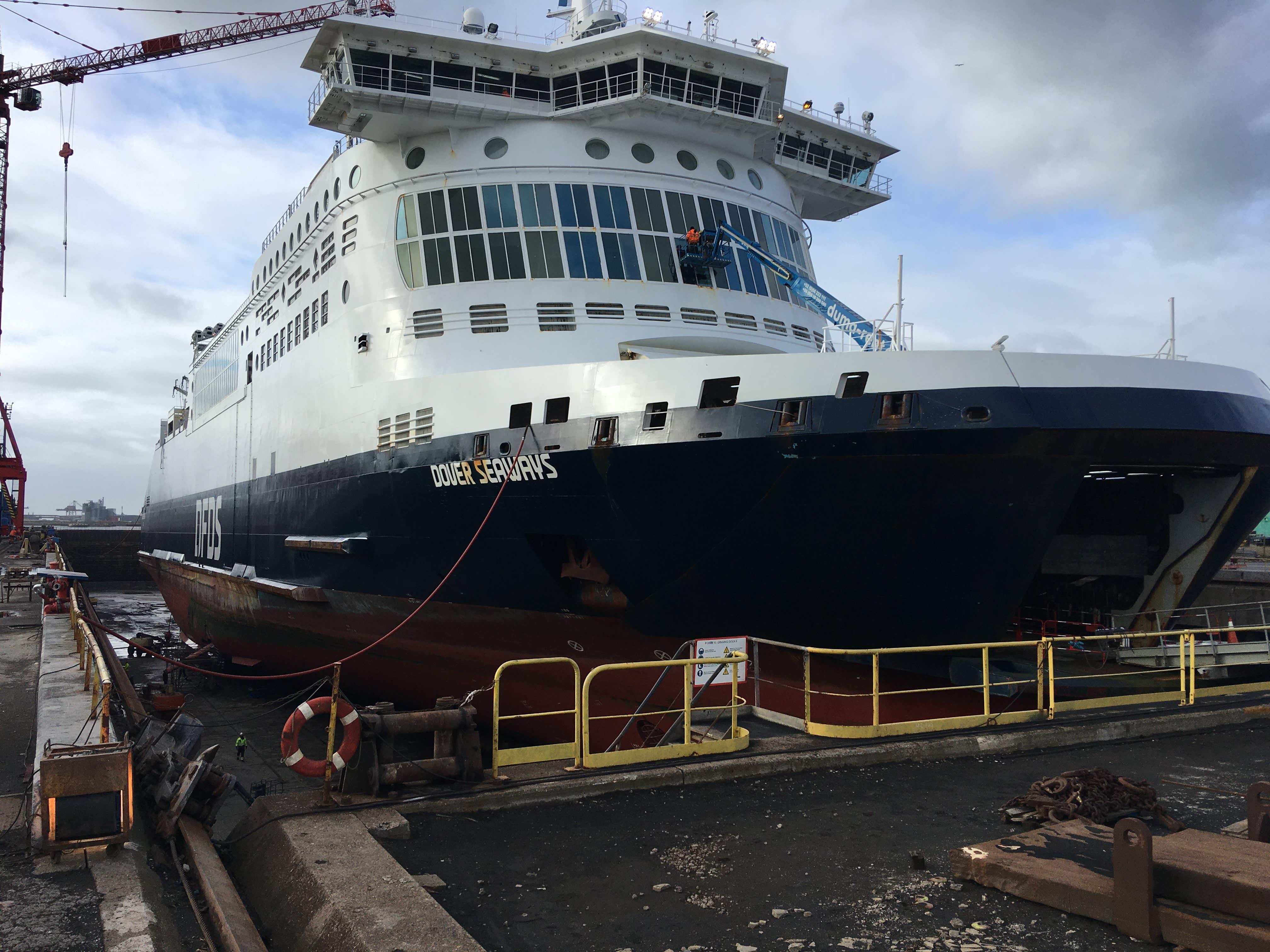 Dover Seaways in dry dock in Dunkerque during upgrade