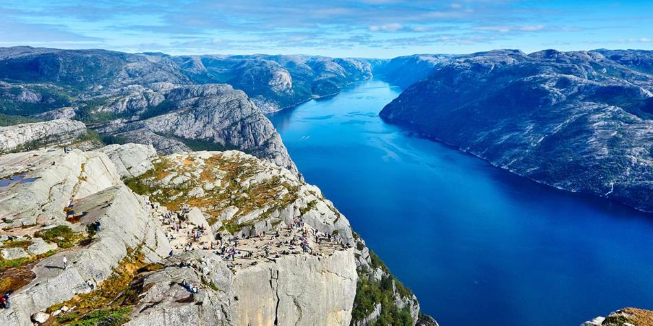 Top view of Pulpit Rock in Norway and Lysefjord