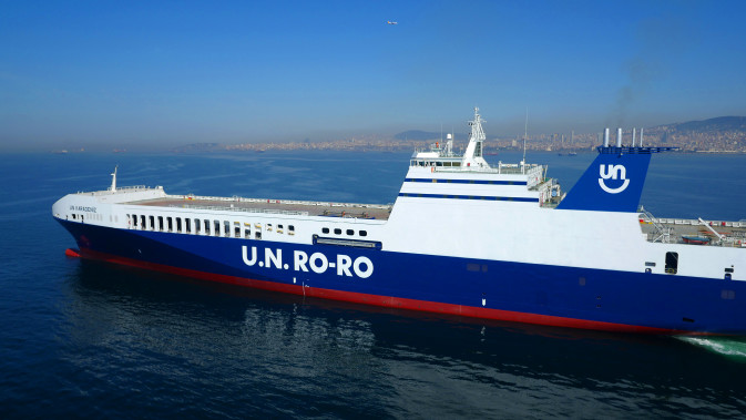 A U.N. Ro-Ro vessel at sea