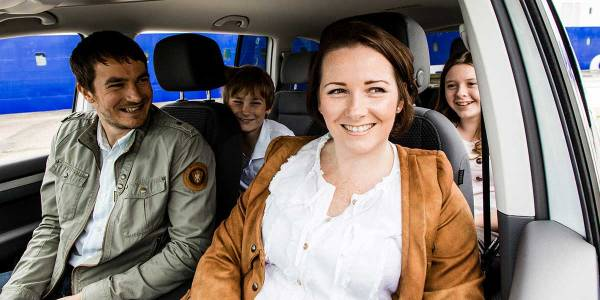 Family in a car together