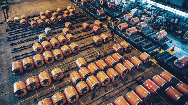 Steel coils lined up at a DFDS logistics warehouse