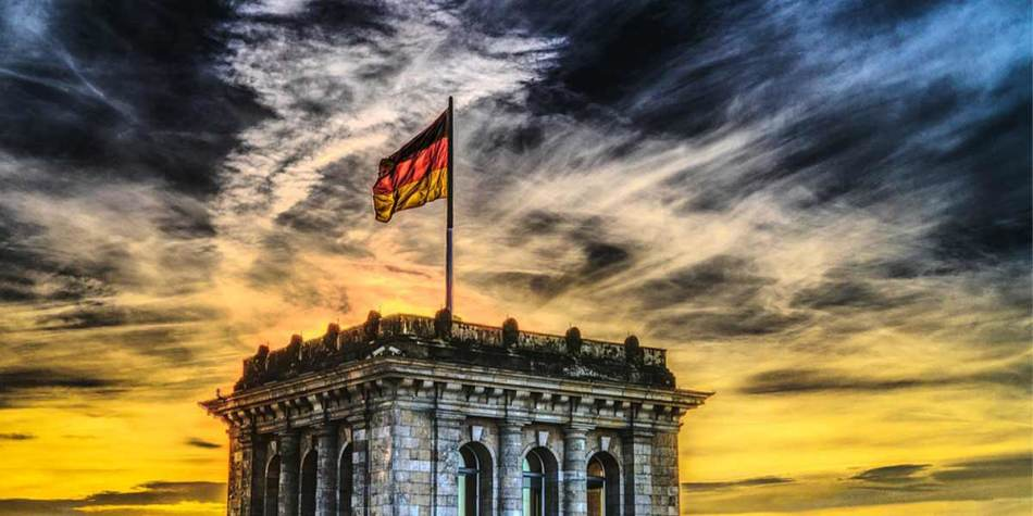 German flag on top of a building in Germany