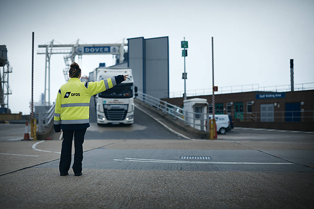 DFDS truck entering terminal