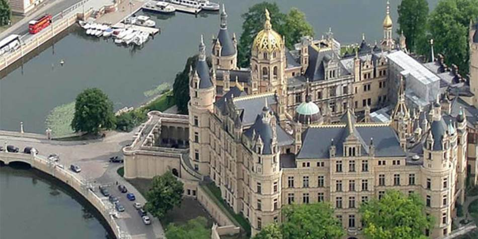 Arial view of landmark in Schwerin, Germany