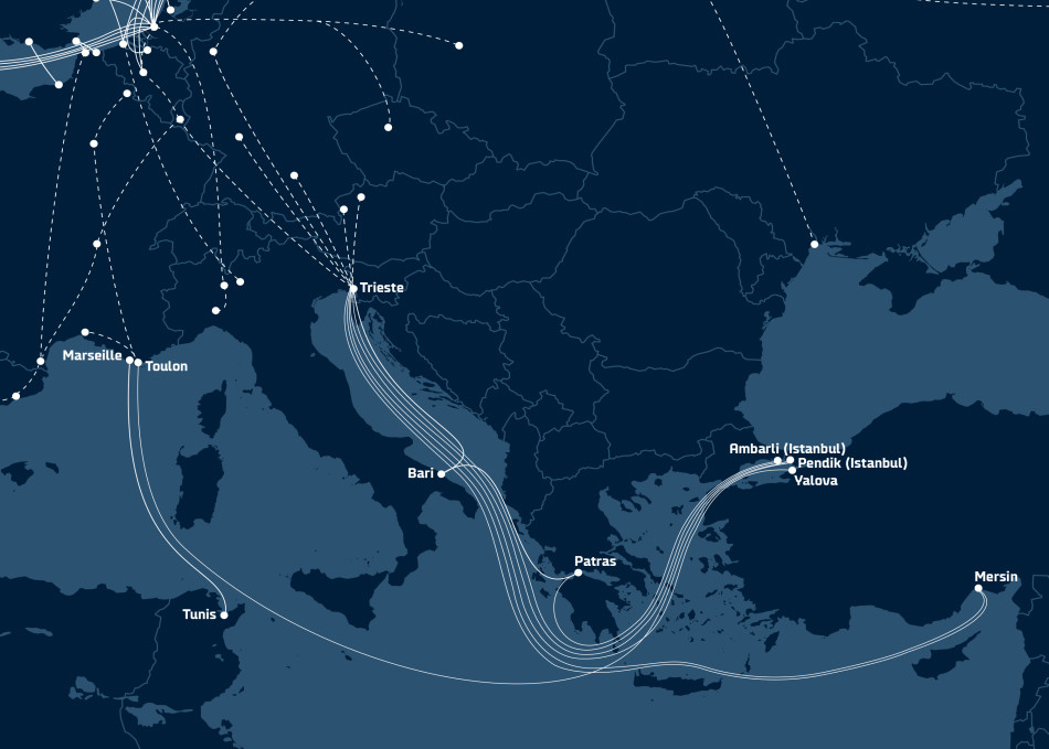 DFDS map of Mediterranean routes