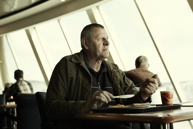 DFDS Road Kings in a cafe on board a ship
