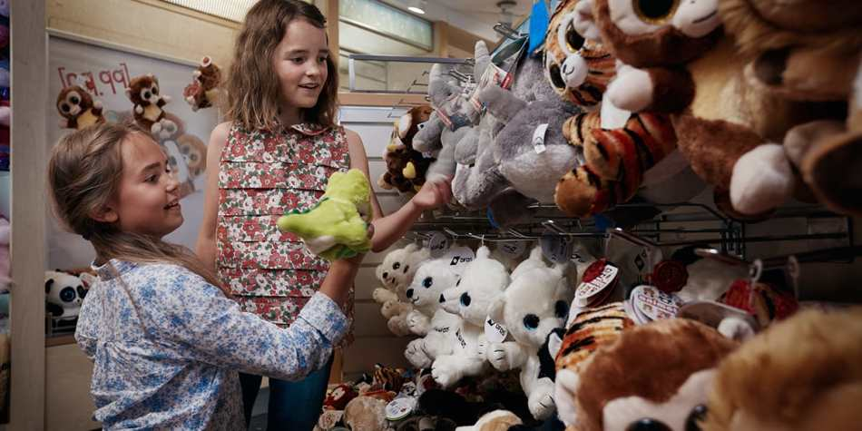 Two girls looking at stuffed animals in duty-free shopping area onboard Eastern Channel Ferry.