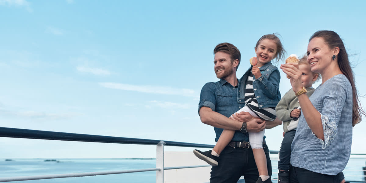 Family on deck of DFDS ferry