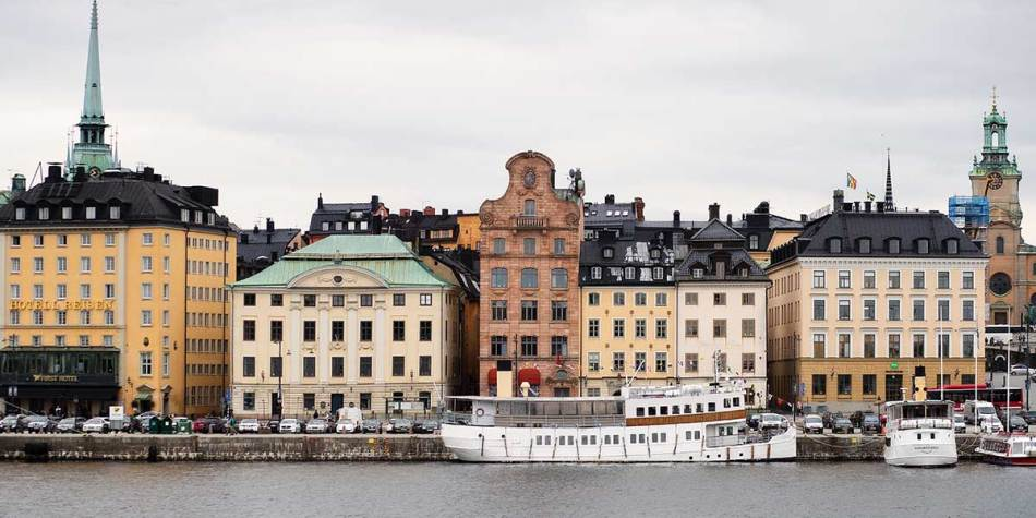 Buildings on the waterfront in Stockholm, Sweden
