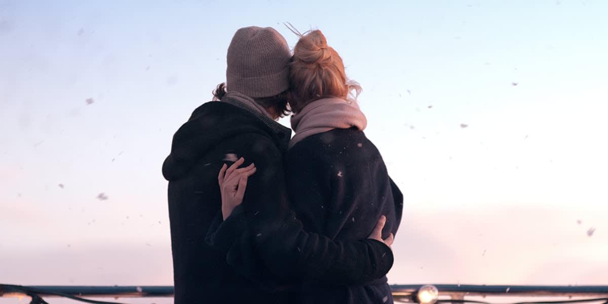 Couple on deck wintertime