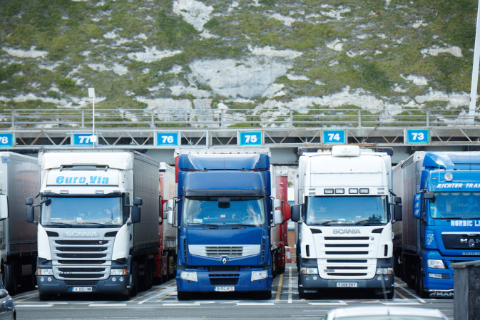 Several DFDS Logistics trucks aligning to enter the Dover terminal