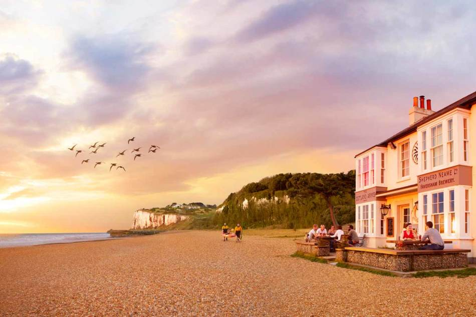 Pub on the beach at sunset