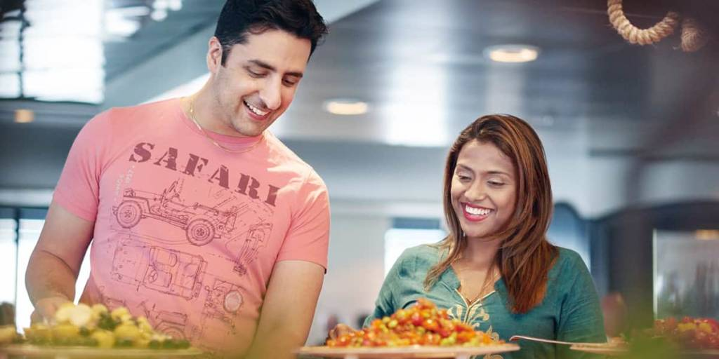 Couple in restaurant onboard DFDS ferry