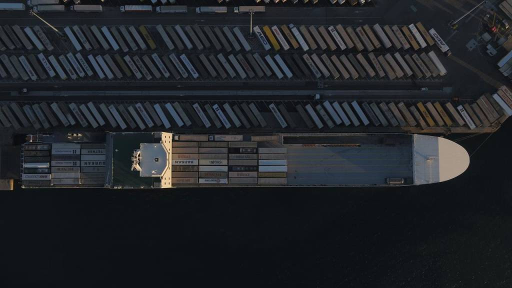 aerial shot of ship horizontal