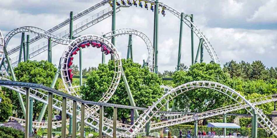 View of rollercoaster in action at Heide Park