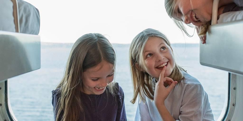 Children having fun in the cabin