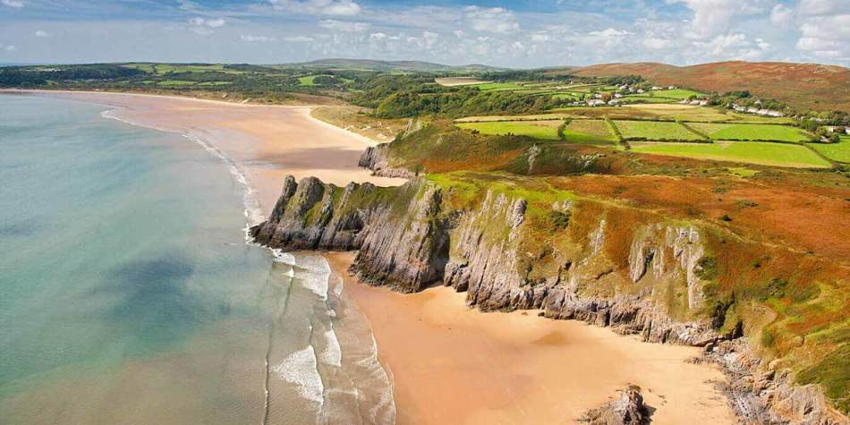 Beach view from above in Wales