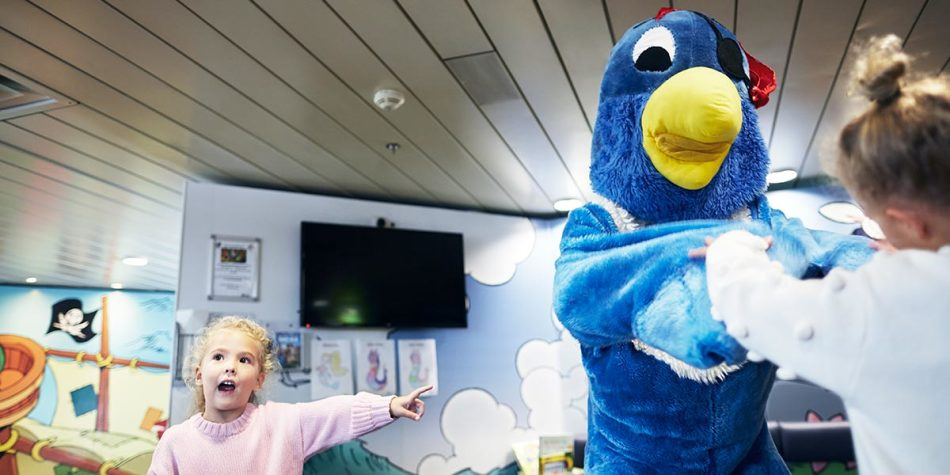 Kids playing onboard with Jack the Parrot