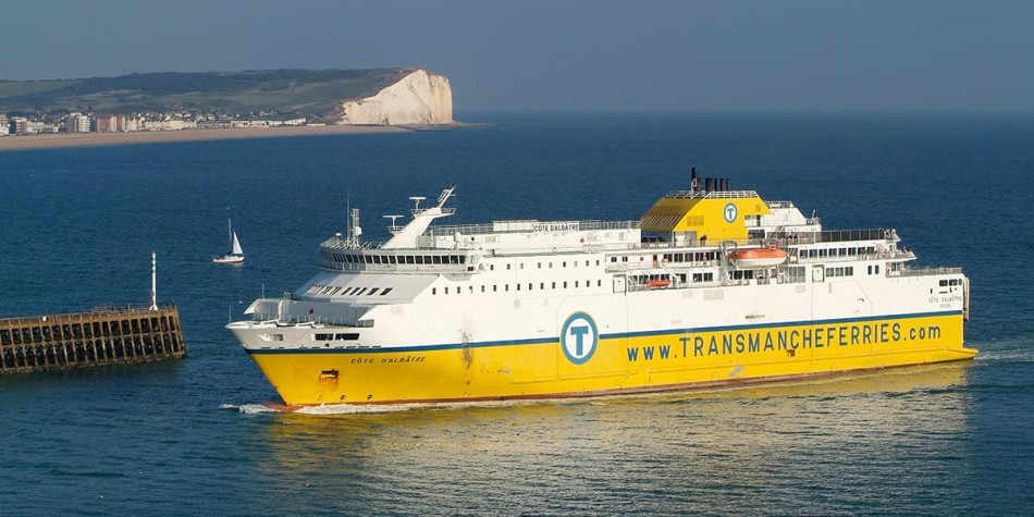 Newhaven- Dieppe Transmache ferry on sea.