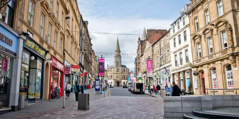 Shopping street in Stirling, Scotland