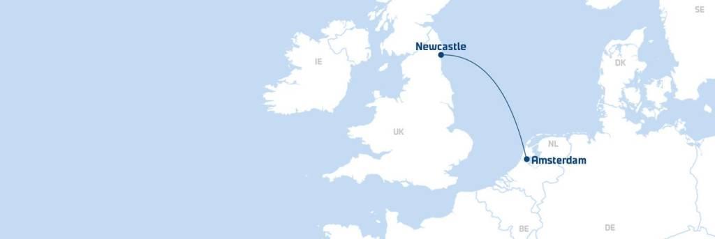 Amsterdam (IJmuiden)-Newcastle hero route map