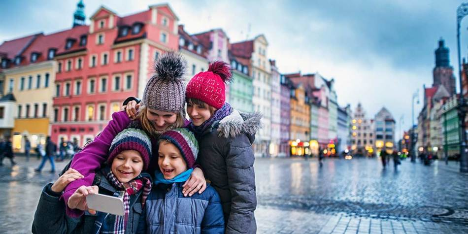 Family on holiday in Warsaw, Poland