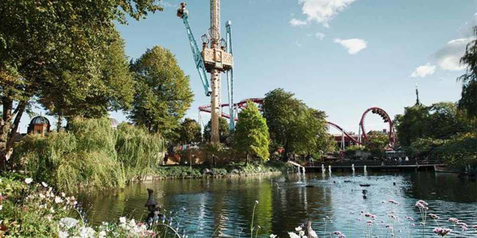 View of fairground rides at Tivoli park, Denmark