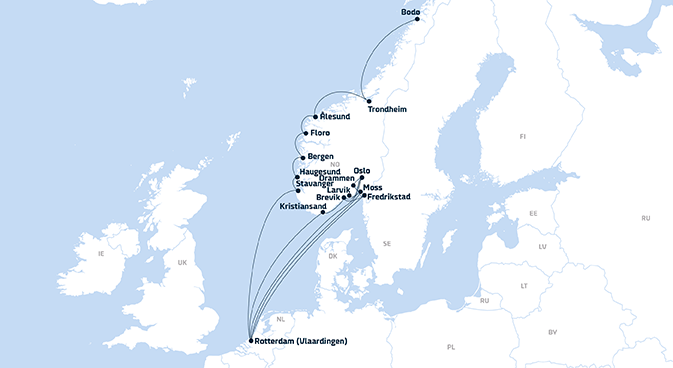Map of DFDS Shipping Container routes from Rotterdam to Norway, 2019 update