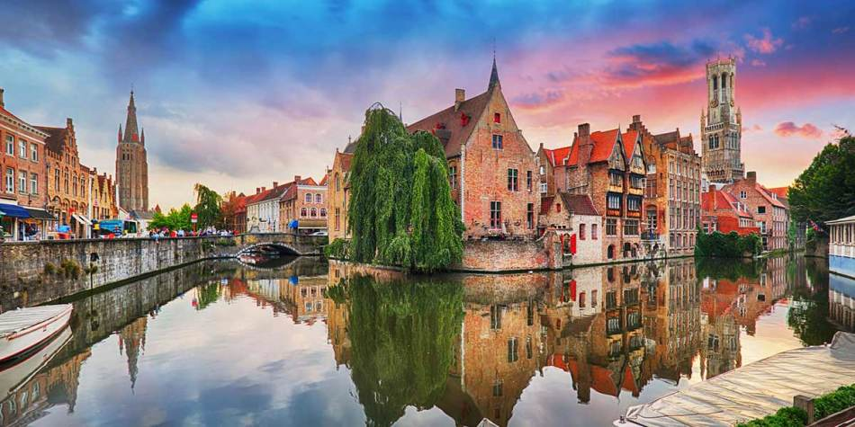 View of Bruges on the water