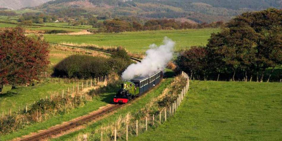 Train travelling through the countryside
