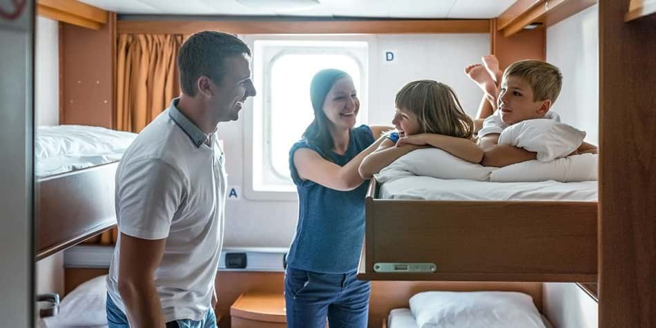 Family in cabin onboard DFDS ferry