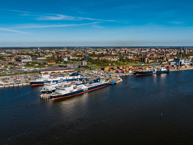 Four DFDS Freight vessels docked at the Port of Klaipeda
